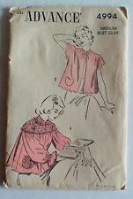 Bed Jacket Pattern Advance 4994 Sleepwear Lingerie Negligee Medium Vintage Uncut