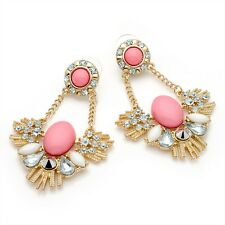 Gold Colour Crystal Diamante & Pink Bead Drop Earrings