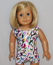 "WHITE PRINT TANK/SHORT SET Dance/Cheer Doll Clothes Fits 18"" American Girl Dolls"