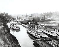 Oregon City and Willamette Falls in 1888- River boats on Willamette River
