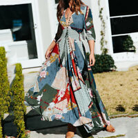 Summer Women Dress Floral print Boho style Beach Long Maxi Dress V-Neck Dresses