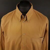 JOOP! Mens THICK Shirt XL Long Sleeve Brown Regular Fit No Pattern Cotton