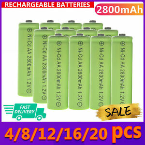 4-20PCS AA 2800mAh 1.2V Ni-Cd Rechargeable Green Batteries for LED Cell RC Toy