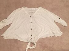 T-BAGS LOS ANGELES RAYON HEATHERED CREAM V-NECK FLOWY PEEFECT BEACH TOP S