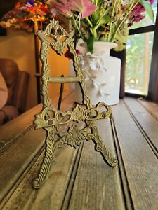 VTG Brass Easel Art Holder Picture Stand Plate Table Top Display Flat Head Screw