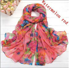 Beautiful Scarves Crinkle Soft Scarf Wrap Wraps Shawl Flower Watermelon red 16-1