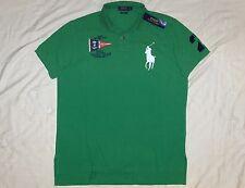 POLO RALPH LAUREN Custom Fit BIG PONY Mesh Shirt Nautical, Vintage, Green MEDIUM