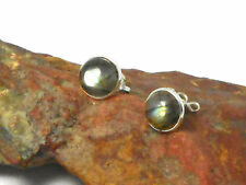 LABRADORITE   Sterling  Silver  925  Gemstone  Earrings / STUDS  -  8  mm