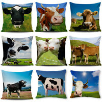 """Square 18"""" Lovely Cow Pattern Cotton Linen Pillow Case Farm Wind Cushion Cover"""