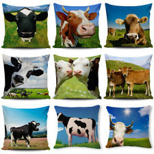"Square 18"" Lovely Cow Pattern Cotton Linen Pillow Case Farm Wind Cushion Cover"