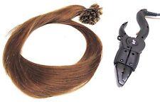 haarverlängerung 100 strähnen echthaar glatt 80cm lang hellbraun + connector