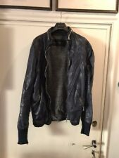 GIORGIO BRATO LEATHER BOOMBER JACKET BIKER MOTORCYCLE BLUE SIZE 52 LARGE