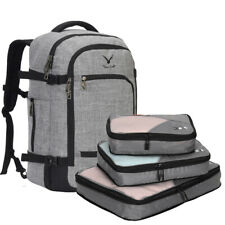 Men Travel Carry On Flight Approved Backpack with Compressible 3pcs Packing Cube
