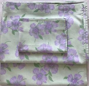 Vintage 1970s Single Bed Set - 2 Floral Flat Sheets & Pillowcase Green/Lilac