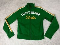 Lucky Brand Jacket Women's Medium Distressed Sweater Cotton Spell Out Green M