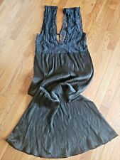 """New listing Vintage Crystal pleated chiffon & Lace bodice Nightgown Negligee Unbranded 38"""""""