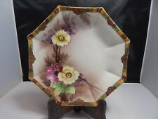 """Hand Painted Nippon Octagonal Plate w/ Floral Pattern; 9.25"""" Wide"""