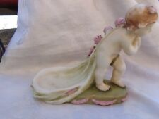 VINTAGE AMPHORA CHERUB PUTTI PINK ROSES POTTERY AUSTRIA CALLING CARD HOLDER TRAY
