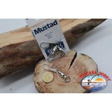 1 Bustina 2 pz. di girelle con moschettone Mustad serie 77557 sz.8 FC.G129