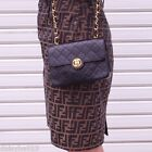 AUTH VTG CHANEL CLASSIC 2.55 MINI CROSSBODY FLAP LAMBSKIN LEATHER BAG BLACK GOLD