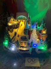 """12"""" Christmas Pub Bar Snow Ski Village Slope Santa Tree Animated Lighted Musical"""