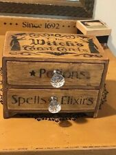 Halloween Tarot Card Witch Fortune Telling Wood Stash Box HP OOAK 2 Draw Spells