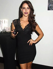 Lipsy Sexy Bodycon Dress 8 Plunge Black Lace Bandage V Neck Celebs Party Club