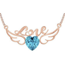 Heart Aquamarine Love Heart Wing Pendant Necklace 14K Rose Gold Over