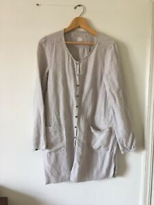 Poetry - Long Shirt - Long Sleeve - Beige - Hemp Cotton Silk - Size 14