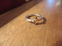 Schöner Silber Ring Schlicht Ausgefallenes Design Teilvergoldet Kugel Elegant