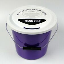 More details for 6 charity money collection buckets lids, labels & ties for fundraising-purple
