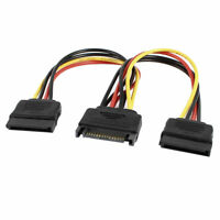 SATA 15 Pin Male to Dual Female M/F Connector Y Splitter Power Adapter Cable