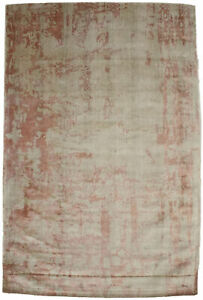 Coral Red Distressed Abstract 6X9 Hand-Loomed Modern Rug Contemporary Carpet
