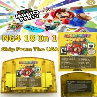 US 18in1 Game Card Mario Party 1 2 3 + 15 Classic NES For Nintendo N64 Christmas