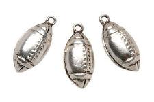 "3 Football Charms 1 x 1/2"" (25 x 13mm) Silvertone Metal Sports Jewelry ABCraft"