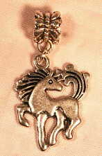 2 Silver Plated Prancing Horse Pony Charm Beads Reiki Blessed + Gift Bag