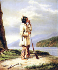 """perfect 24x36 oil painting handpainted on canvas """"Hunter Calling a Moose """"N12557"""