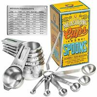 Wow Four Design Updated 2019 Version Measuring Cups and Spoons Set of 6 Measurin