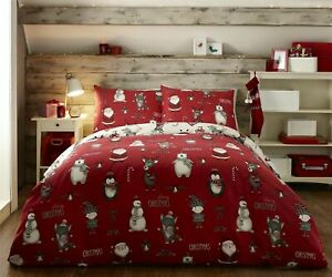 Xmas White Red Polar Bear Snowman Santa Reindeer Pengiun Elf Duvet Cover Sets