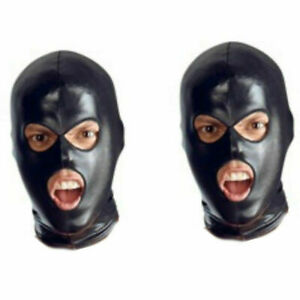 Wet Look PVC Black Mask Spandex Full Head Hooded Cosplay Costume Party 3 Holes