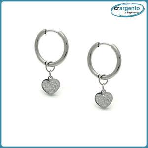 orecchini cerchio con zirconi pendente cuore in acciaio inox strass da donna a