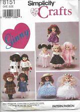 Simplicity Crafts Pattern 8151 Ginny. Wardrobe for Ginny Doll.