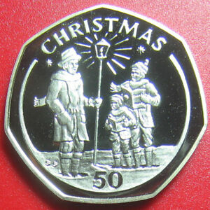 1991 GIBRALTAR 50 PENCE CHRISTMAS CAROLERS PROOF DIAMOND FINISH RARE (no silver)