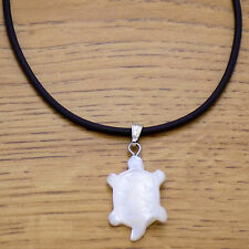 Marvelous Leather & Mother of Pearl Cute Cool Turtle Pendant Adjustable Necklace