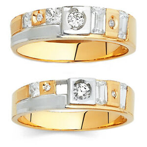 14K Two-tone Solid Gold Men's/Women's Simulated Diamond Anniversary Ring