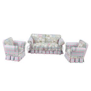 Doll Miniature Furniture 1/12 Scale Petal Pattern Fabric Living Room Sofa&Chair