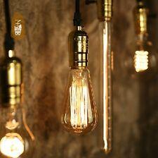 Edison vintage rustika Pendellampe Glühbirne mit Alu gold Halter 1,2m Kabel 60W