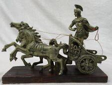 "Greek Roman Chariot Horses Figurine Statue Decor Wood Base 12"" Long"