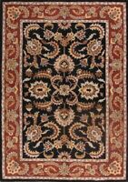100% Wool Classic Floral Black/Red Agra Oriental Area Rug Hand-Tufted 8'x11'