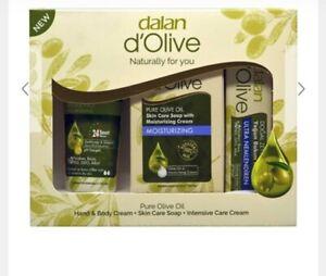 DALAN d'OLIVE 100 % OLIVE OIL SOAP Cream Lotion set of 3 uk stock
